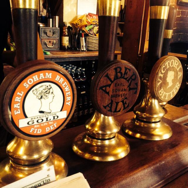 The beer pumps in the Earl Soham Victoria